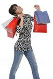 Mujer feliz de las compras Fotografía de archivo