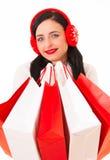 Mujer feliz de las compras Imágenes de archivo libres de regalías