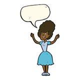mujer feliz de los años 50 de la historieta con la burbuja del discurso Imagen de archivo libre de regalías