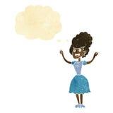 mujer feliz de los años 50 de la historieta con la burbuja del pensamiento Imagen de archivo