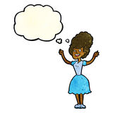 mujer feliz de los años 50 de la historieta con la burbuja del pensamiento Imagen de archivo libre de regalías