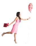 Mujer feliz del asiático de la tarjeta del día de San Valentín Imagen de archivo libre de regalías