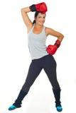 Mujer feliz del boxeador Fotos de archivo libres de regalías
