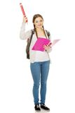 Mujer feliz del estudiante con el lápiz grande Fotos de archivo