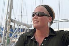 Mujer feliz del marinero Fotos de archivo libres de regalías