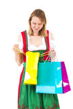 Mujer feliz después del viaje que hace compras Foto de archivo libre de regalías