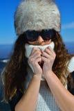 Mujer feliz en el invierno Foto de archivo libre de regalías