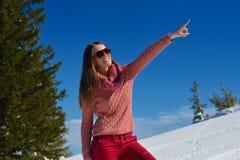 Mujer feliz en el invierno Imagen de archivo