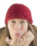 Mujer feliz en invierno Foto de archivo libre de regalías