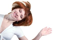 Mujer feliz en la camiseta blanca Foto de archivo libre de regalías