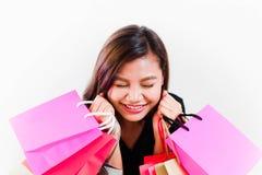 Mujer feliz a hacer compras Imagen de archivo libre de regalías