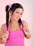 Mujer feliz hermosa con el peinado divertido Imagenes de archivo