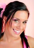 Mujer feliz hermosa con el peinado divertido Imagen de archivo libre de regalías