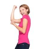 Mujer feliz hermosa que celebra el éxito que es un ganador fotos de archivo