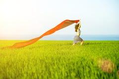 Mujer feliz joven en campo de trigo con la tela Forma de vida del verano Imágenes de archivo libres de regalías