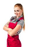 Mujer feliz joven en guardapolvos rojos Fotografía de archivo libre de regalías