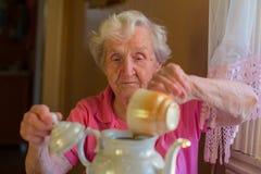 Mujer feliz mayor que hace té en la caldera Fotografía de archivo libre de regalías