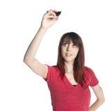 Mujer feliz que aumenta a un marcador Pen Up fotografía de archivo libre de regalías