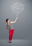 Mujer feliz que celebra el dibujo sonriente de los globos Imagen de archivo libre de regalías