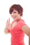 Mujer feliz que destaca con su finger Imagen de archivo