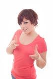 Mujer feliz que destaca con su finger Foto de archivo libre de regalías