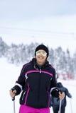 Mujer feliz que goza en nieve Imágenes de archivo libres de regalías