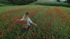 Mujer femenina joven del blogger en campo de flor almacen de video