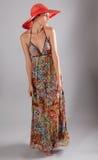 Mujer fina alta en Maxi Dress Foto de archivo