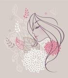 Mujer floral de la belleza Fotografía de archivo libre de regalías