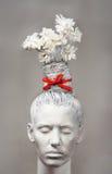 Mujer - florero con los camomiles Fotos de archivo