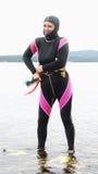 Mujer Freediver Fotos de archivo libres de regalías