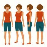 Mujer, frente, parte posterior y vista lateral stock de ilustración