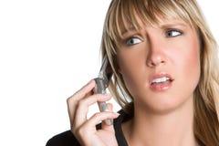 Mujer frustrada del teléfono Imágenes de archivo libres de regalías