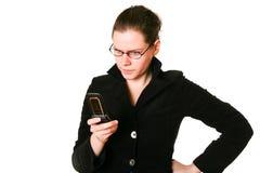 Mujer frustrada del teléfono Fotos de archivo libres de regalías