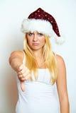 Mujer frustrada joven de la Navidad Imagen de archivo libre de regalías