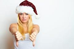 Mujer frustrada joven de la Navidad Foto de archivo libre de regalías
