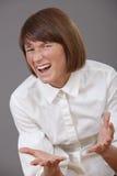 Mujer frustrada que grita Imagen de archivo libre de regalías