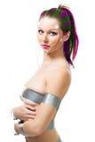Mujer futurista con los sensores del cerebro Imagen de archivo libre de regalías