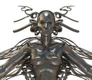 Mujer futurista del cyborg aislada en blanco