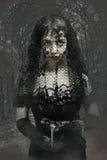 Mujer gótica en velo negro Foto de archivo