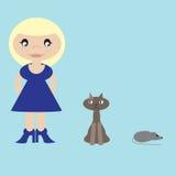 Mujer, gato y ratón Foto de archivo