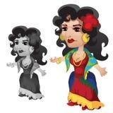 Mujer gitana en ropa y accesorios brillantes ilustración del vector