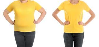 Mujer gorda antes y después de la pérdida de peso en el fondo blanco imagen de archivo