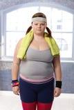 Mujer gorda en ropa de deportes Imagen de archivo
