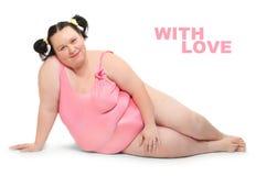 Mujer gorda feliz. Foto de archivo