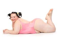 Mujer gorda feliz. Imagen de archivo libre de regalías