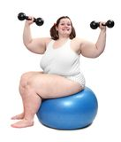 Mujer gorda feliz del bodybuilder. Imagen de archivo
