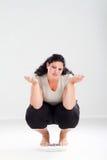 Mujer gorda infeliz Imágenes de archivo libres de regalías