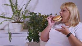 Mujer gorda que come una hamburguesa, una TV de observación y laughes Imagenes de archivo