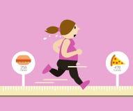 Mujer gorda que corre en cinta métrica Las calorías quemaron concepto Fotografía de archivo libre de regalías